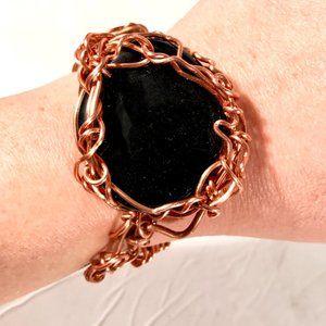 ObsidianGenuine Gemstone Copper Cuff Bracelet